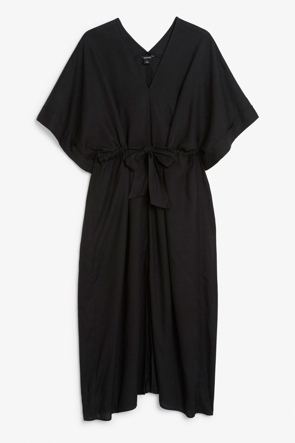 Front image of Monki v-necked kaftan dress in black