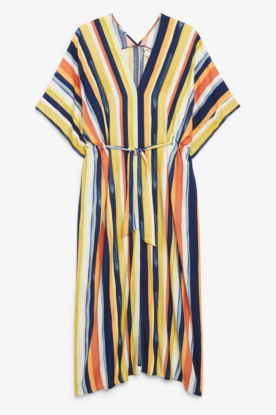 Front image of Monki v-necked kaftan dress in blue