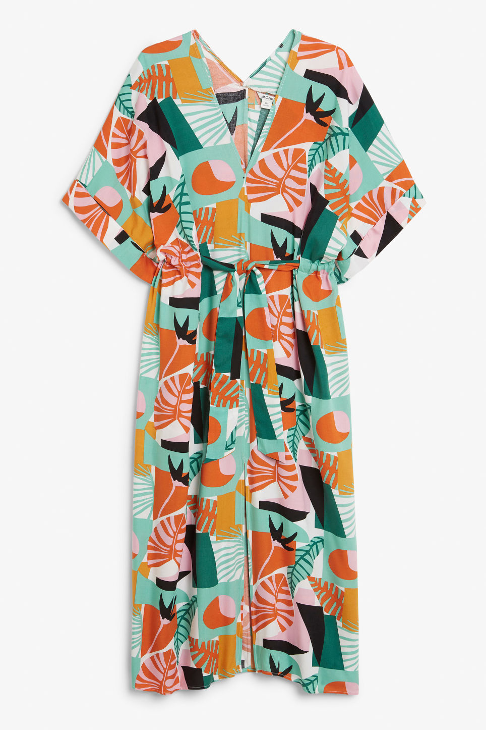 Front image of Monki belted kaftan dress in white
