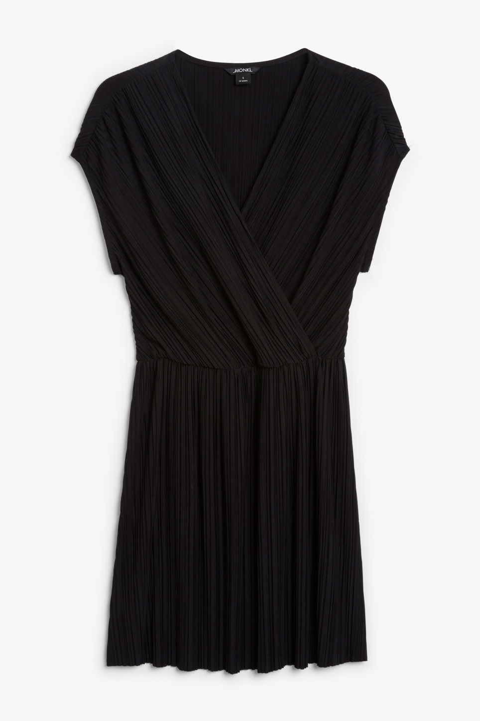 Front image of Monki pleated wrap dress in black