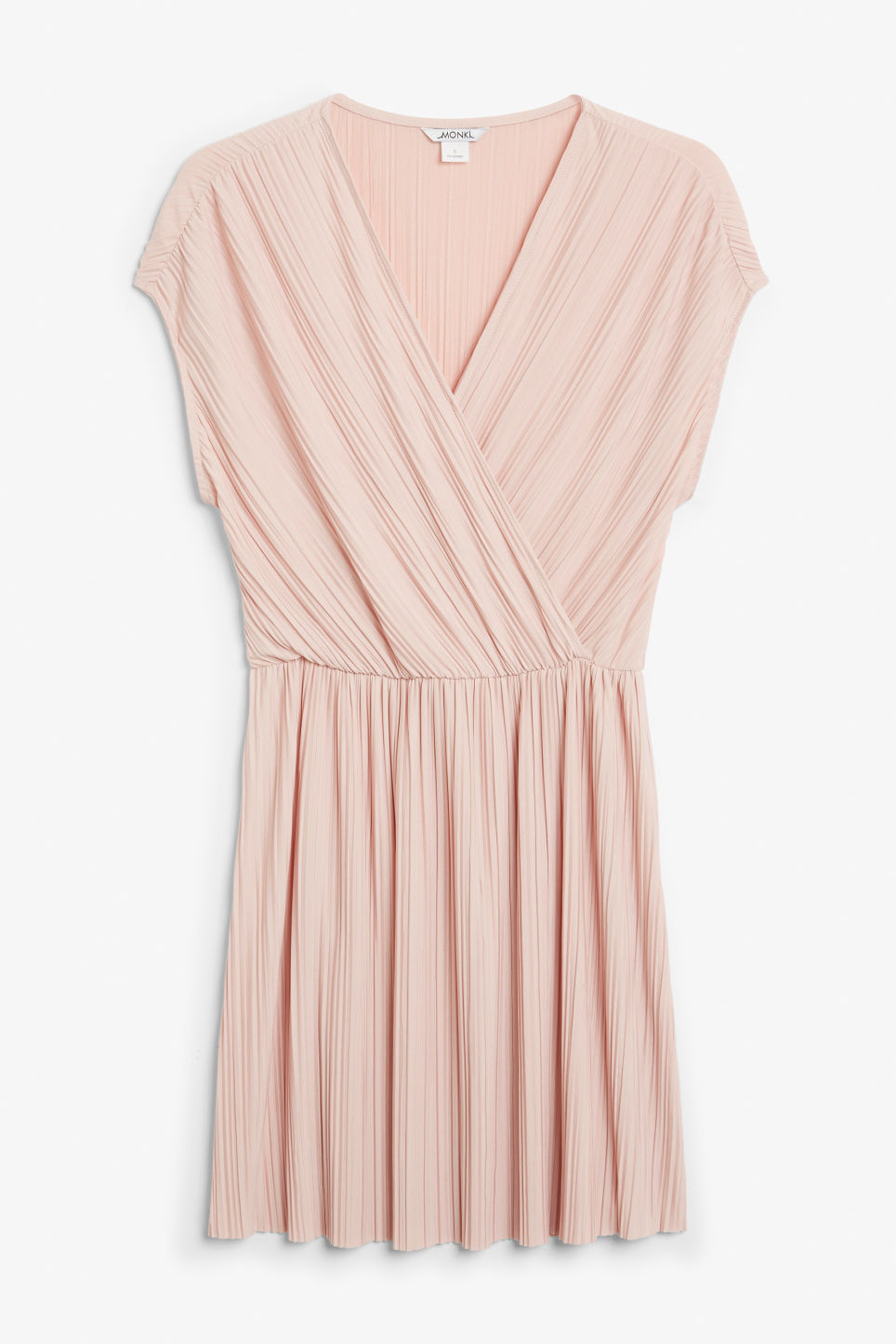 Front image of Monki pleated wrap dress in orange