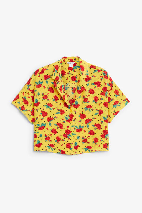 Front image of Monki short-sleeved blouse in yellow