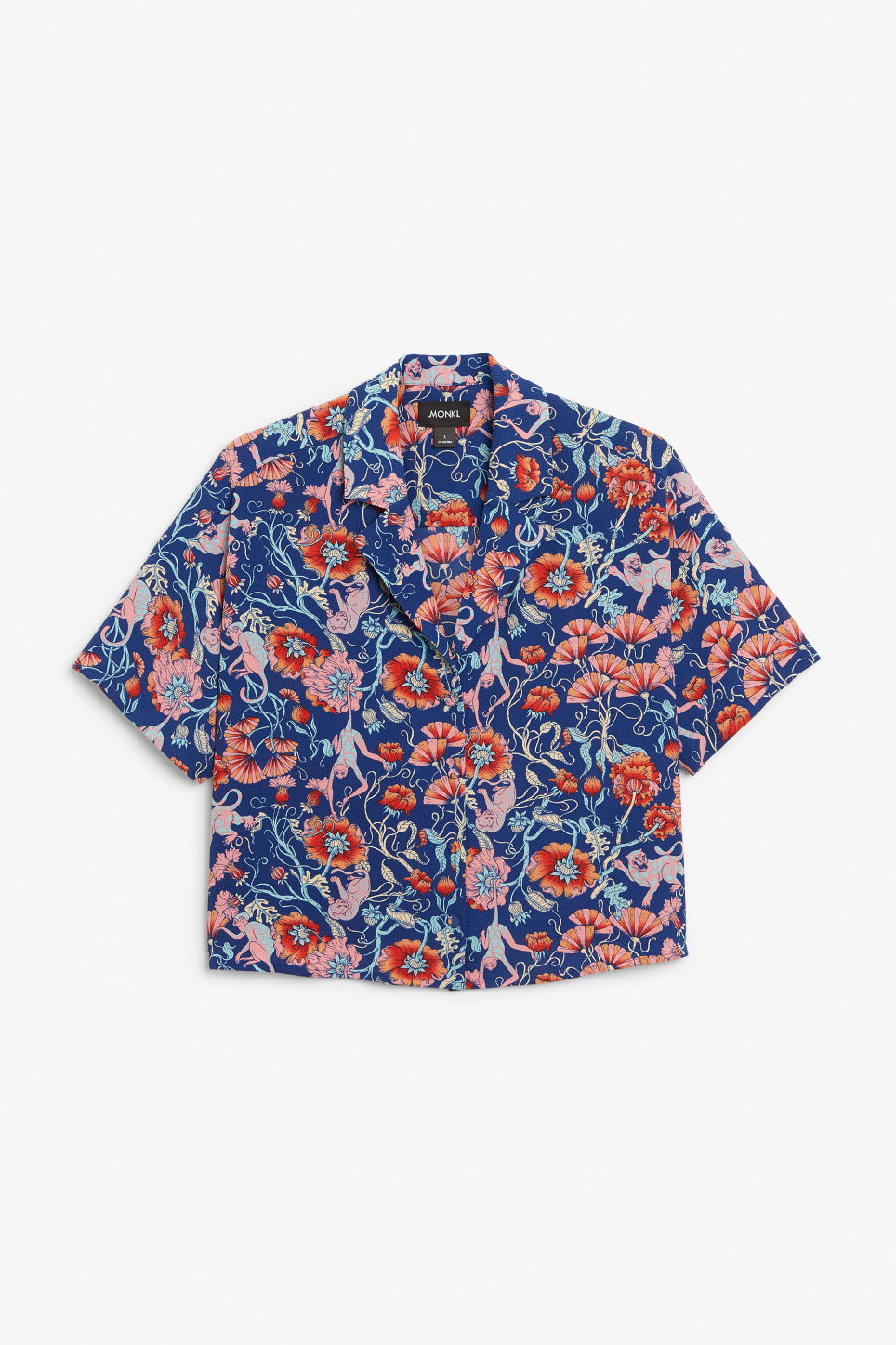 Front image of Monki short-sleeved crepe blouse in red