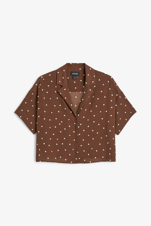 Front image of Monki short-sleeved blouse in beige