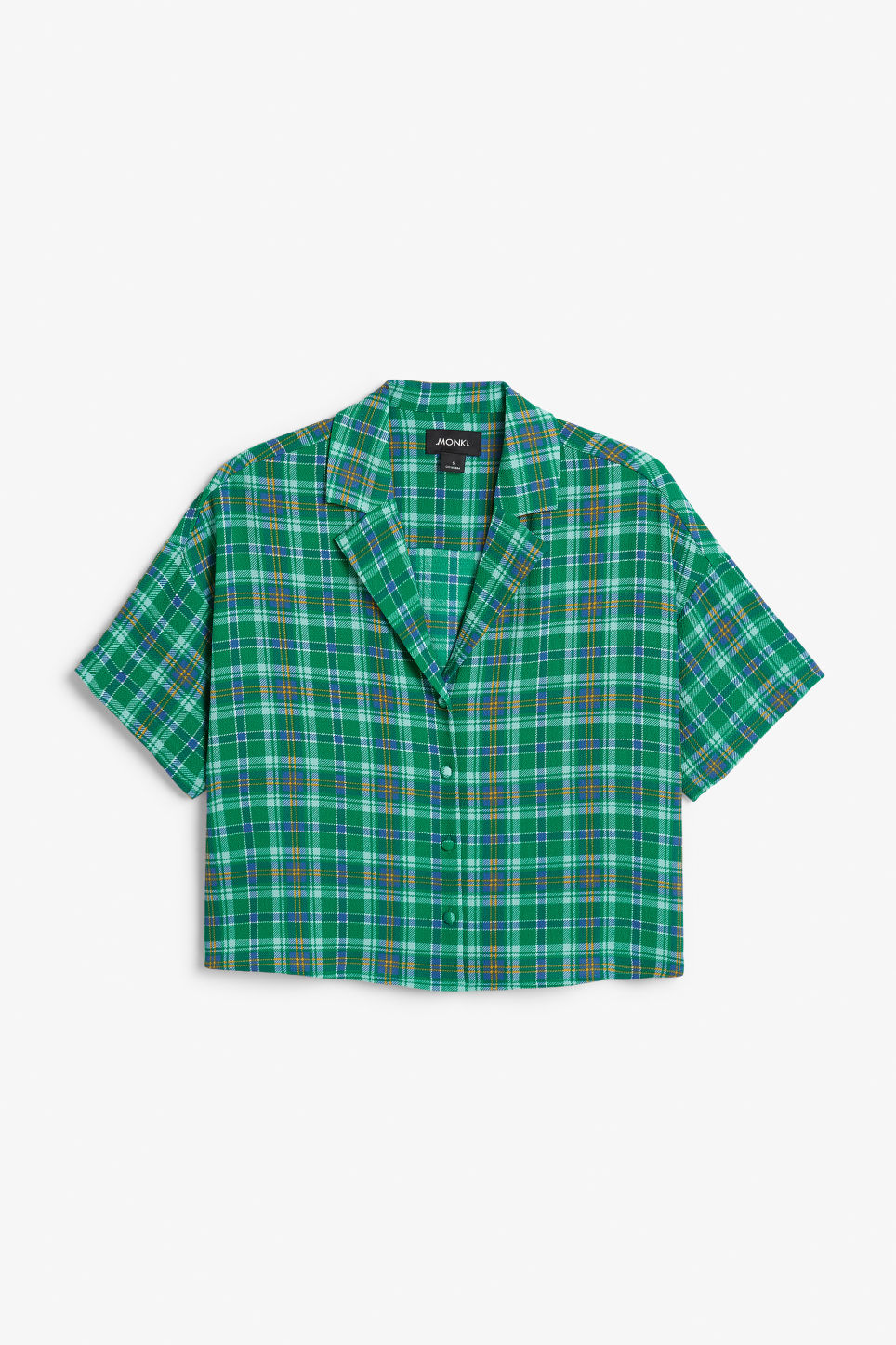 Front image of Monki short-sleeved blouse in green