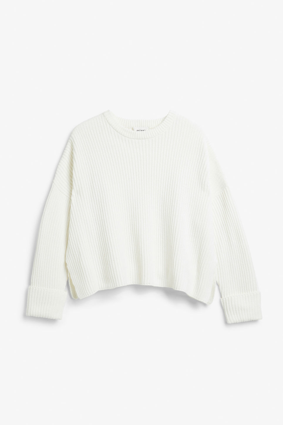 Front image of Monki knit sweater in white