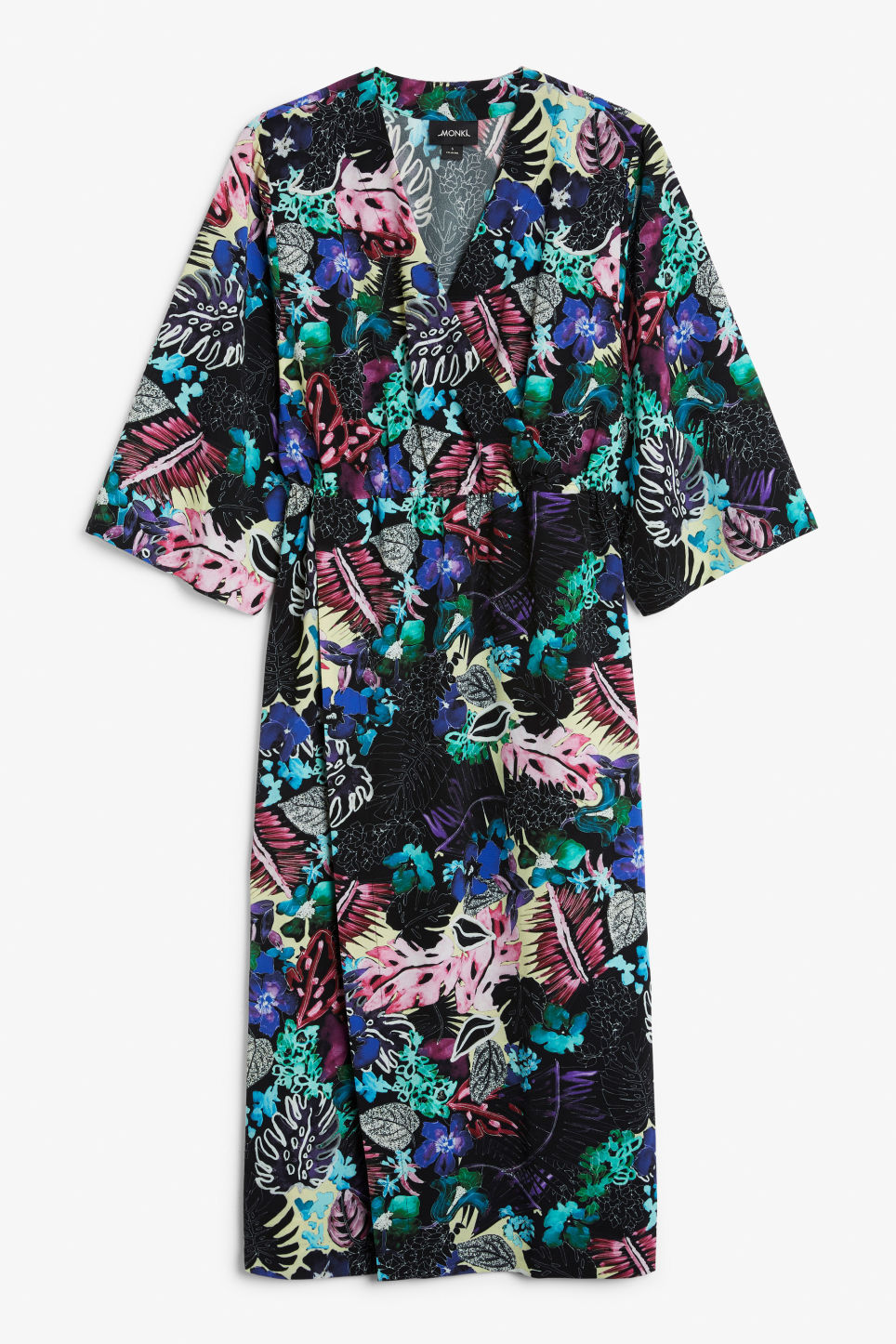 Front image of Monki wrap dress in black