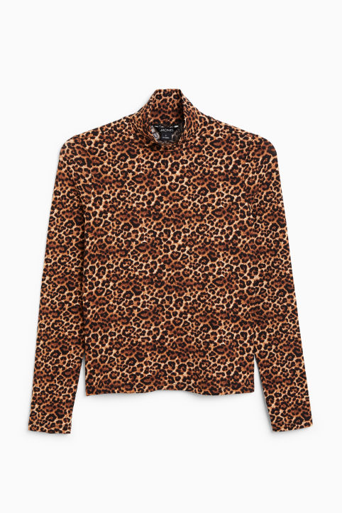 Front image of Monki long-sleeved turtleneck in beige