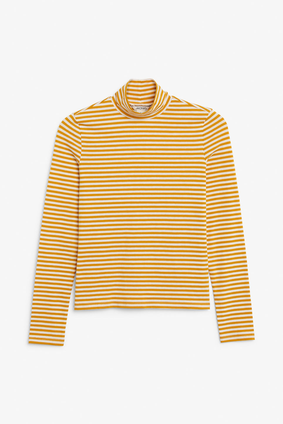 Front image of Monki stretchy turtleneck top in yellow