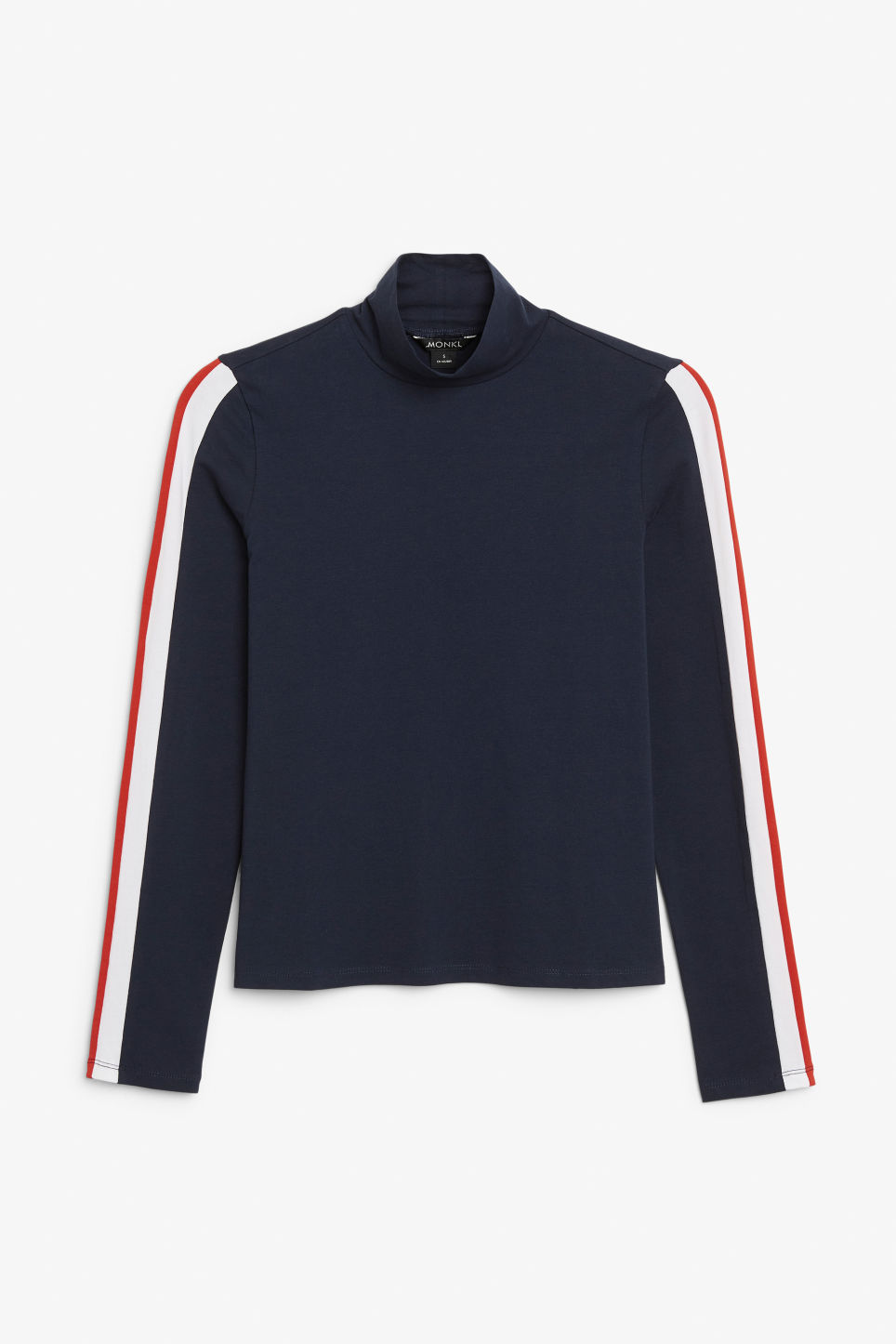 Front image of Monki stretchy turtleneck top in blue