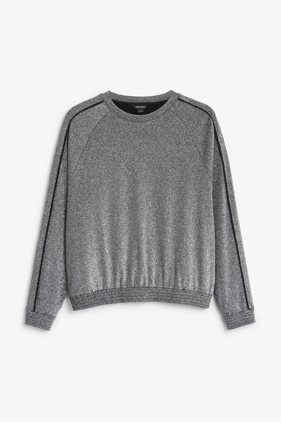 Front image of Monki oversized metallic sweater in black