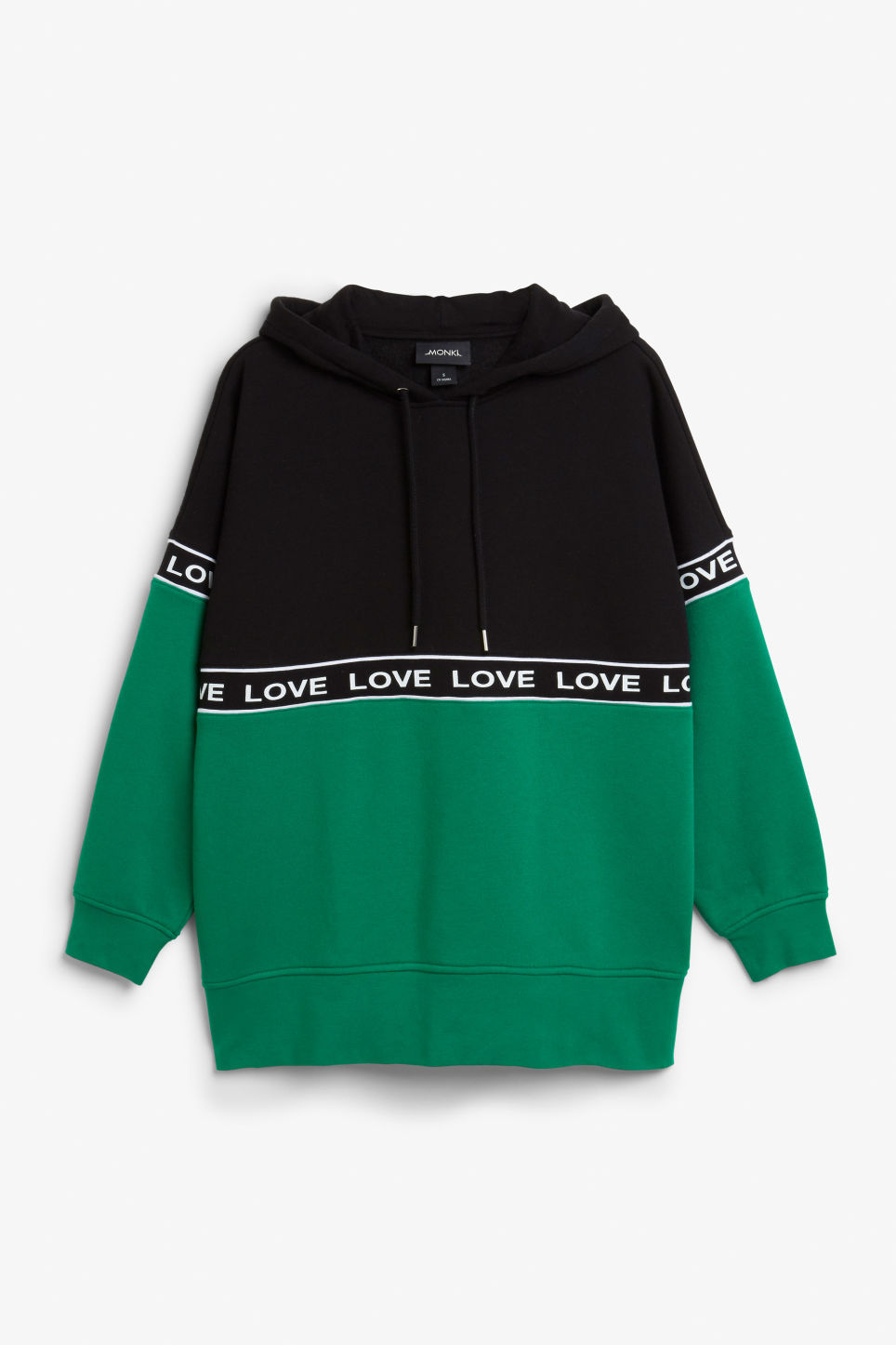 Front image of Monki oversized hoodie in green