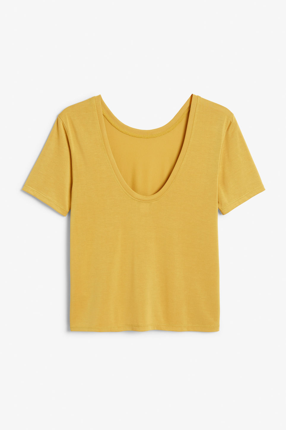 Back image of Monki super-soft deep back tee in yellow