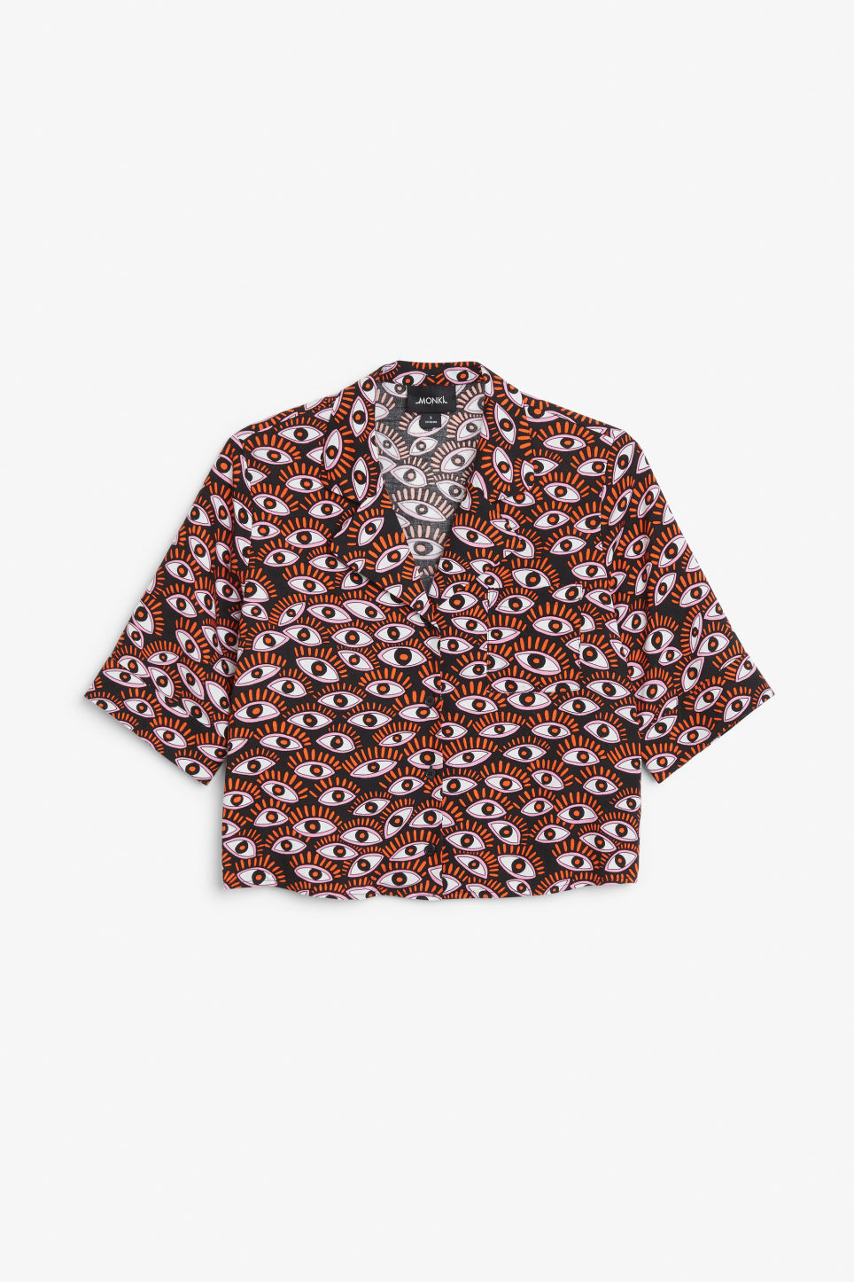 Front image of Monki button-up blouse in black