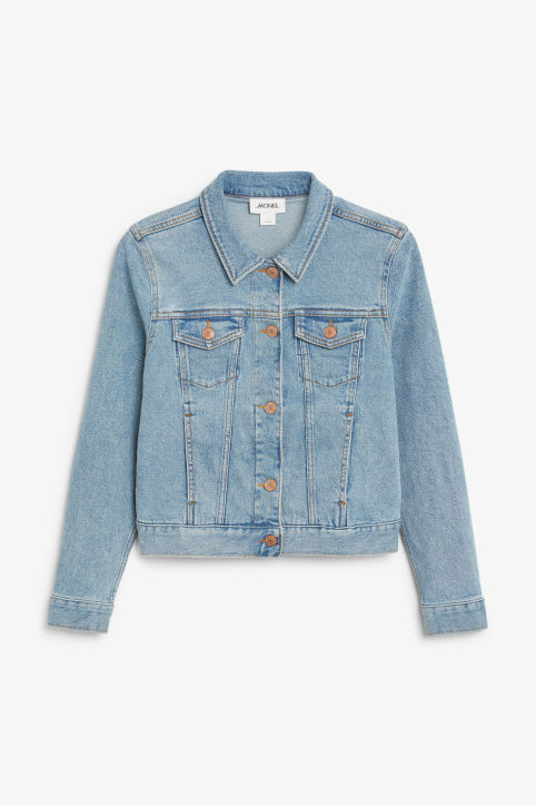 Front image of Monki cropped denim jacket in blue