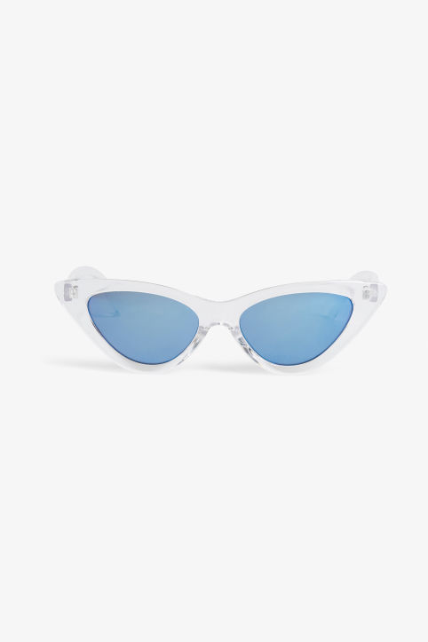 Front image of Monki cat eye sunglasses in white