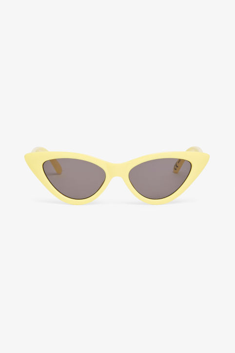 Front image of Monki cat eye sunglasses in yellow