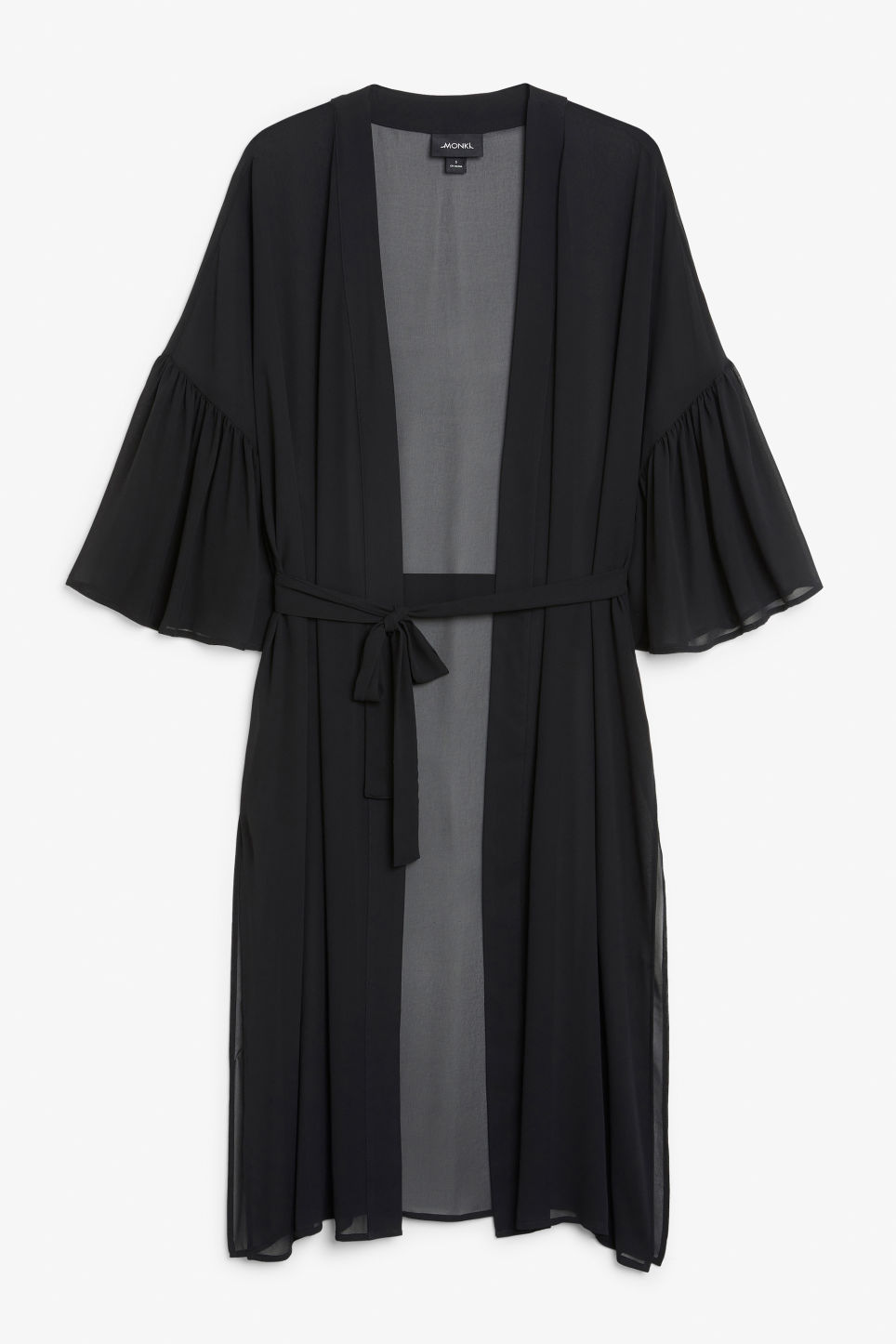 Front image of Monki flowy kaftan in black