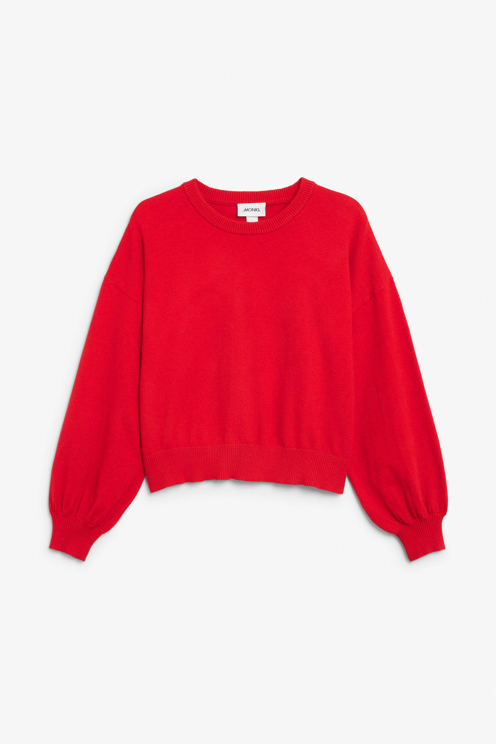 Front image of Monki knitted sweater in red