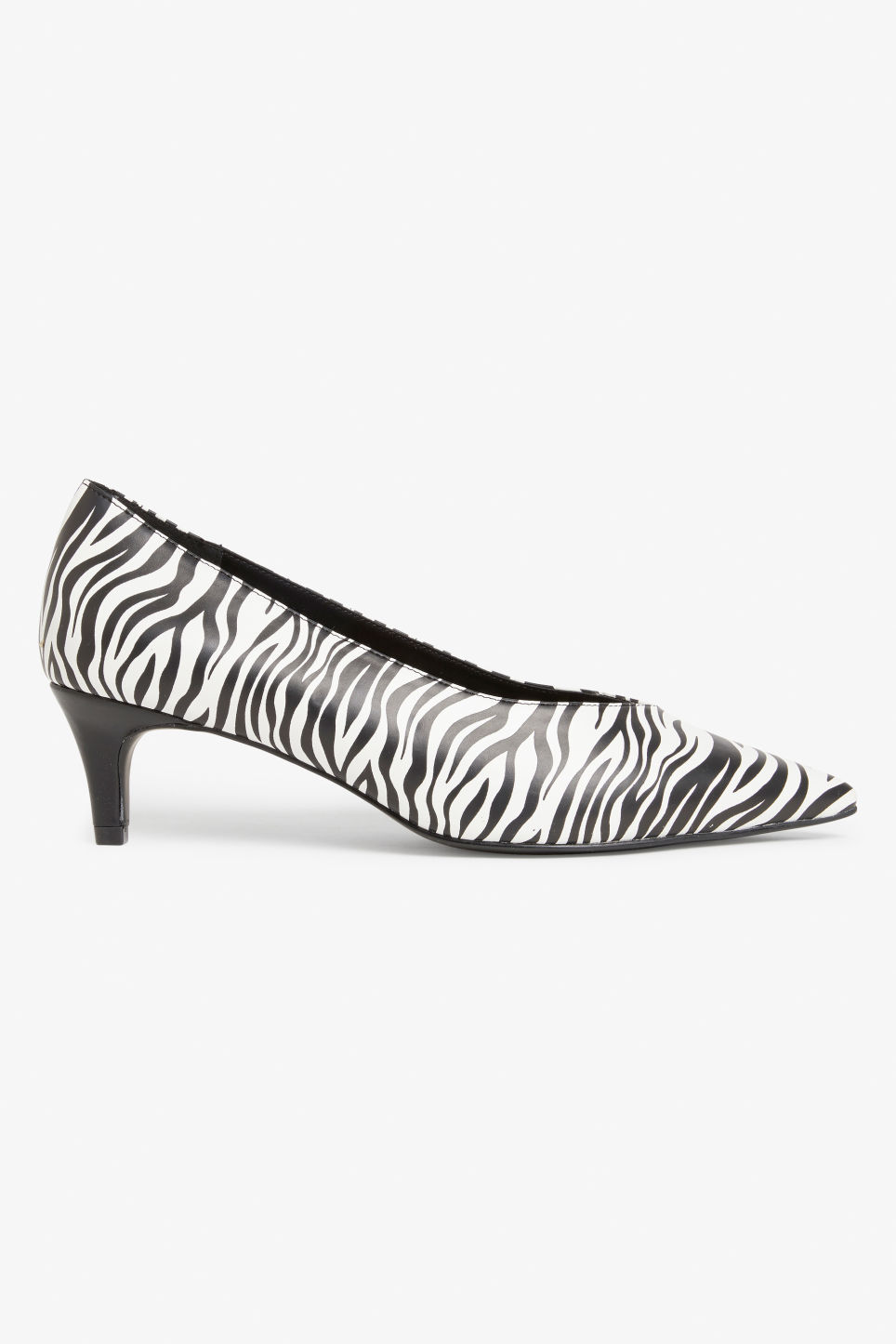 Side image of Monki zebra pumps in black