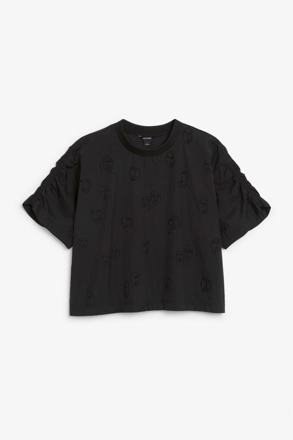 Front image of Monki ruffle sleeve blouse in black