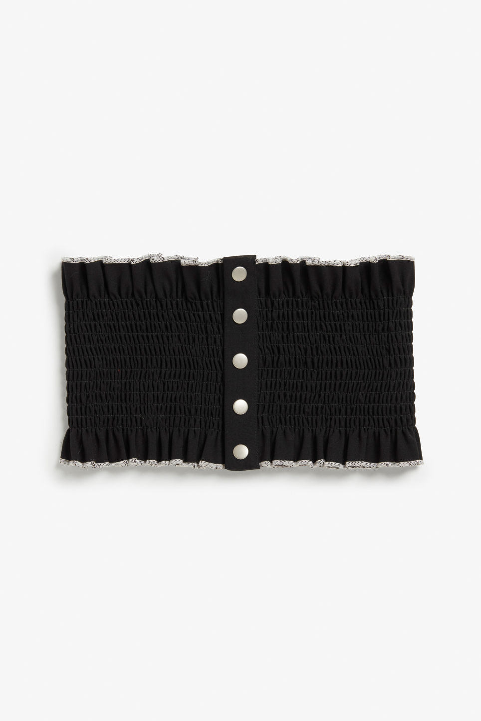 Front image of Monki wide ruffled belt in black