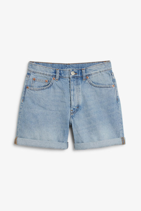 Front image of Monki high waisted denim shorts in blue