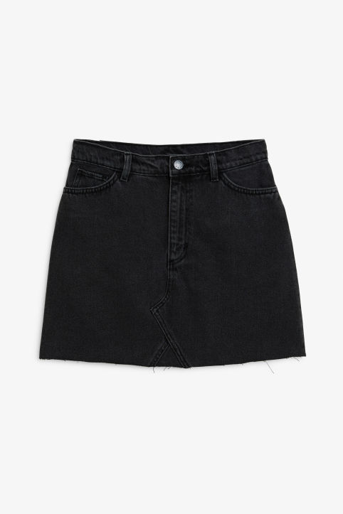 Front image of Monki denim mini skirt  in black