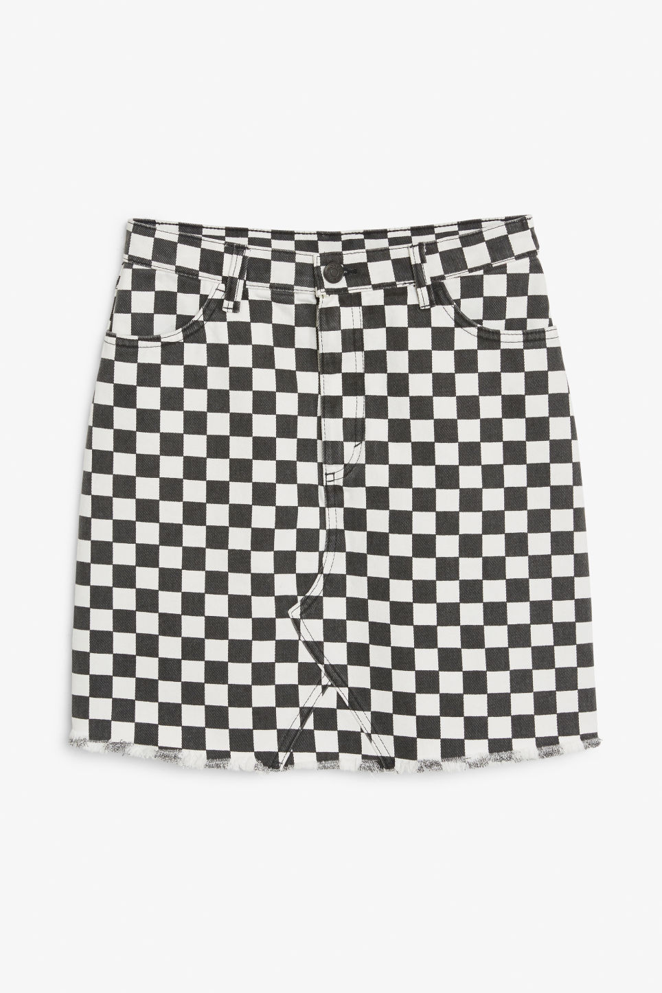 Front image of Monki denim mini skirt  in white