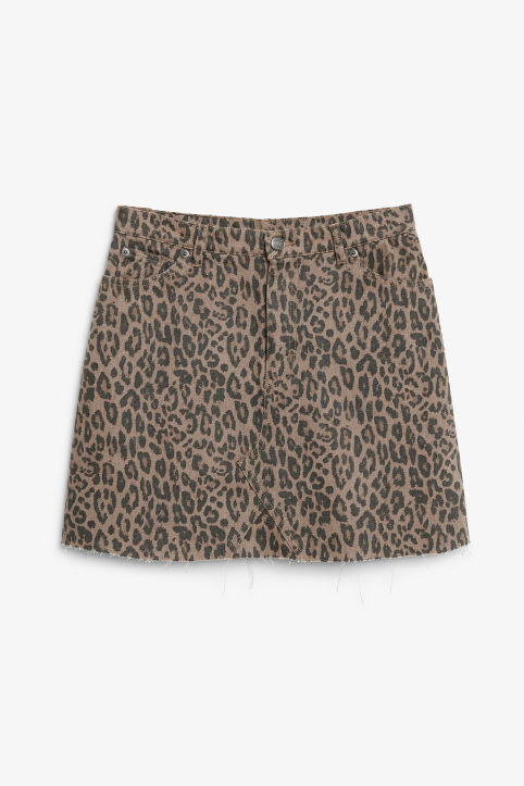 Front image of Monki denim mini skirt  in beige