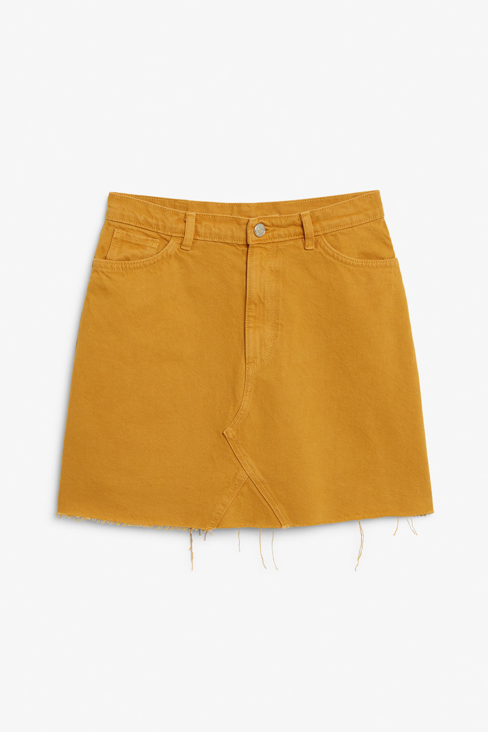 Front image of Monki denim mini skirt  in yellow