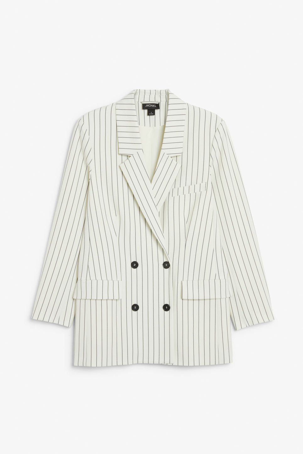 Front image of Monki double-breasted blazer in white