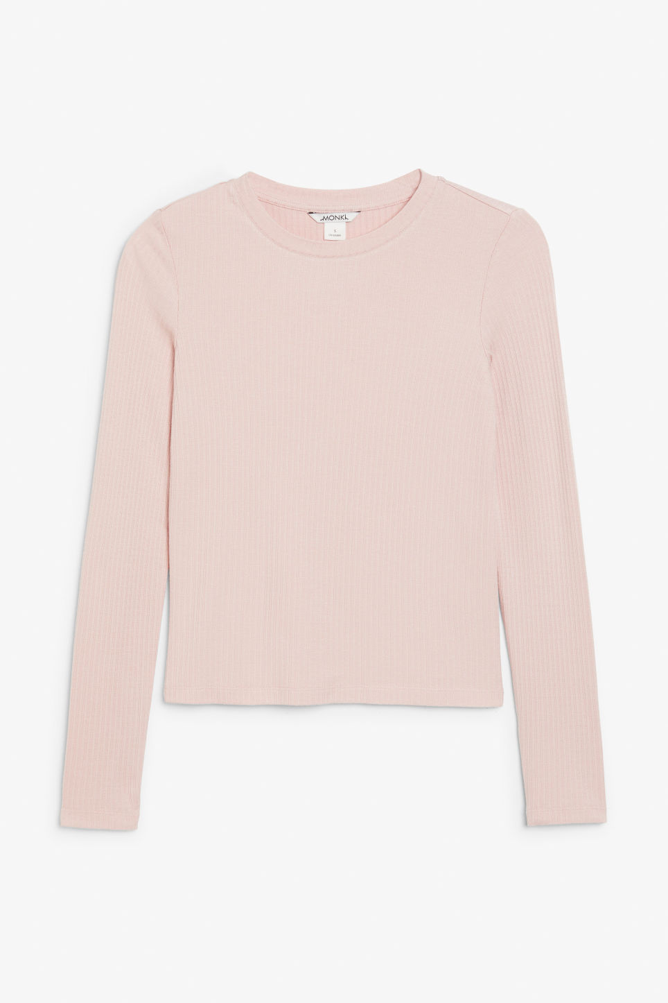 Front image of Monki long-sleeved ribbed top in orange