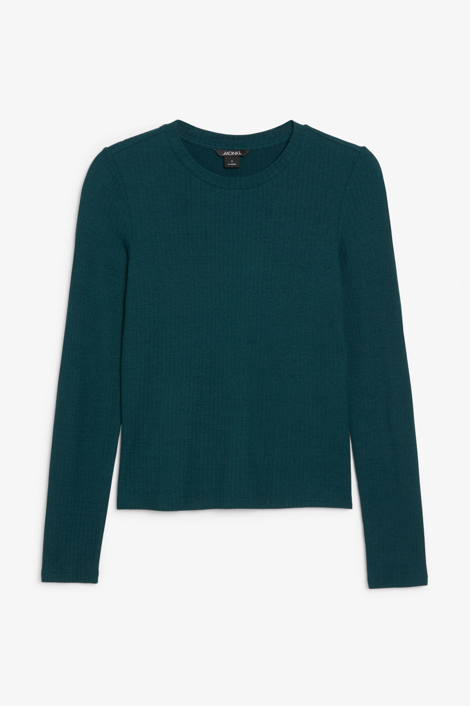 Front image of Monki long-sleeved ribbed top in green