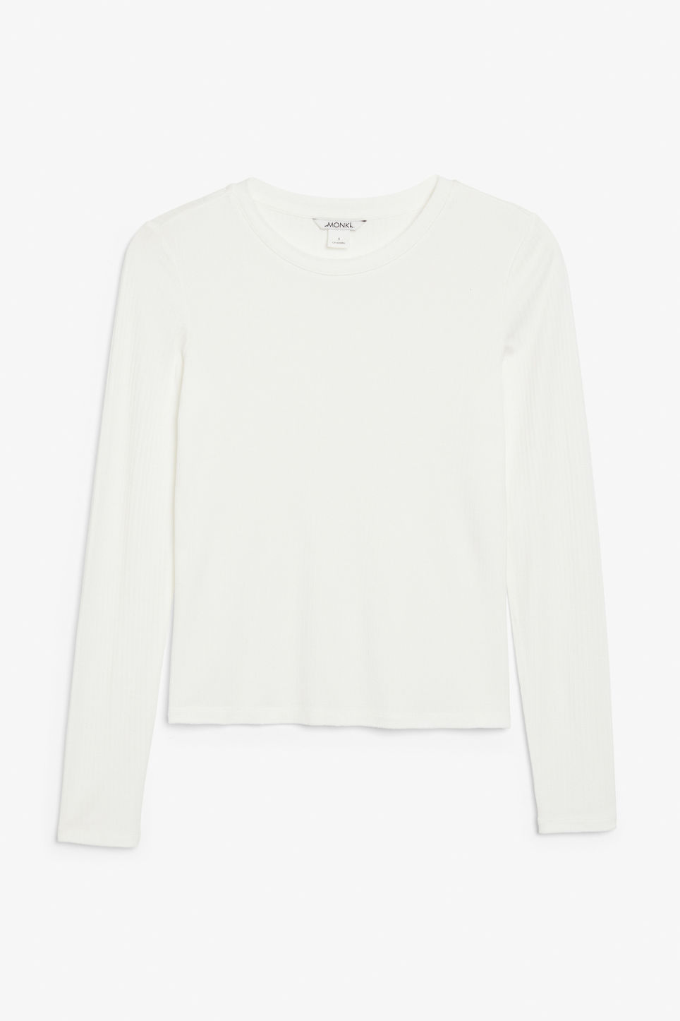 Front image of Monki long-sleeved ribbed top in white