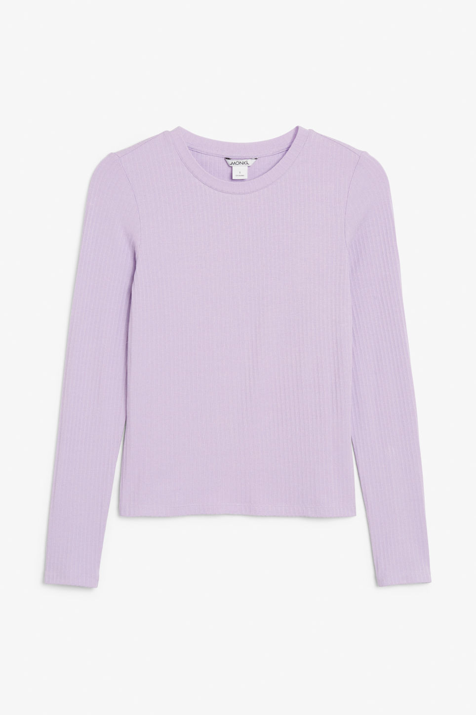 Front image of Monki long-sleeved ribbed top in purple