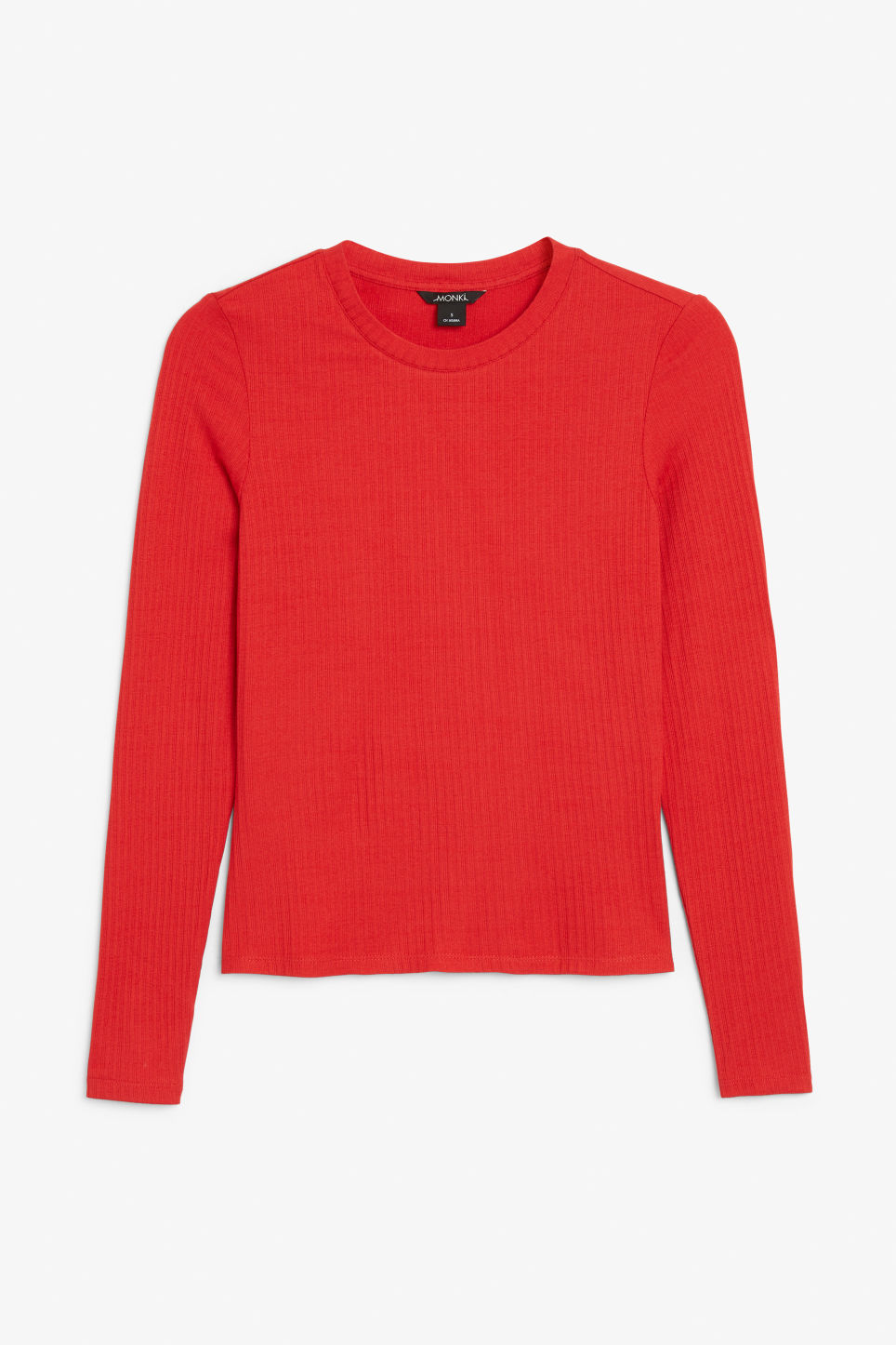 Front image of Monki long-sleeved ribbed top in red