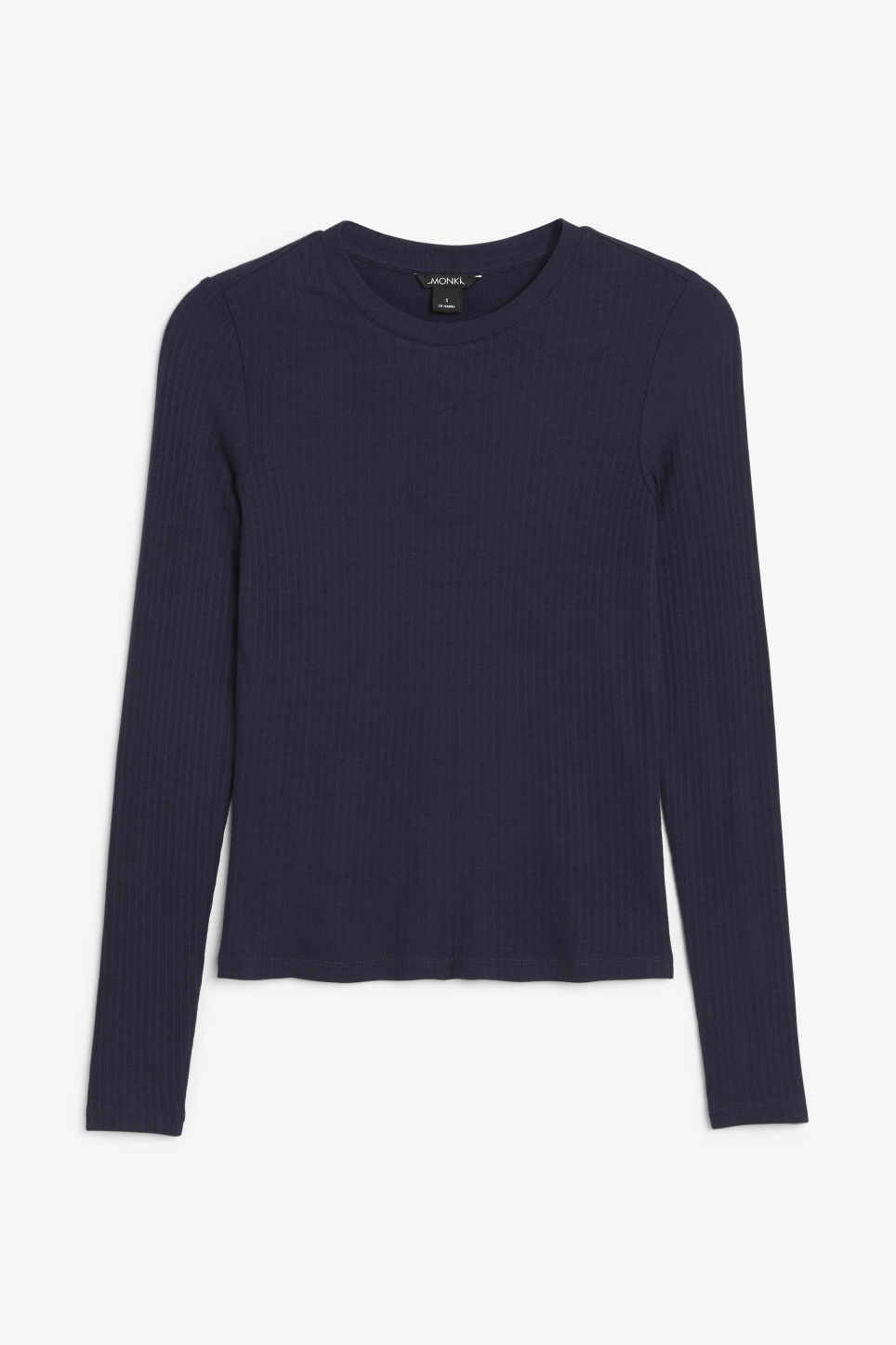 Front image of Monki long-sleeved ribbed top in blue