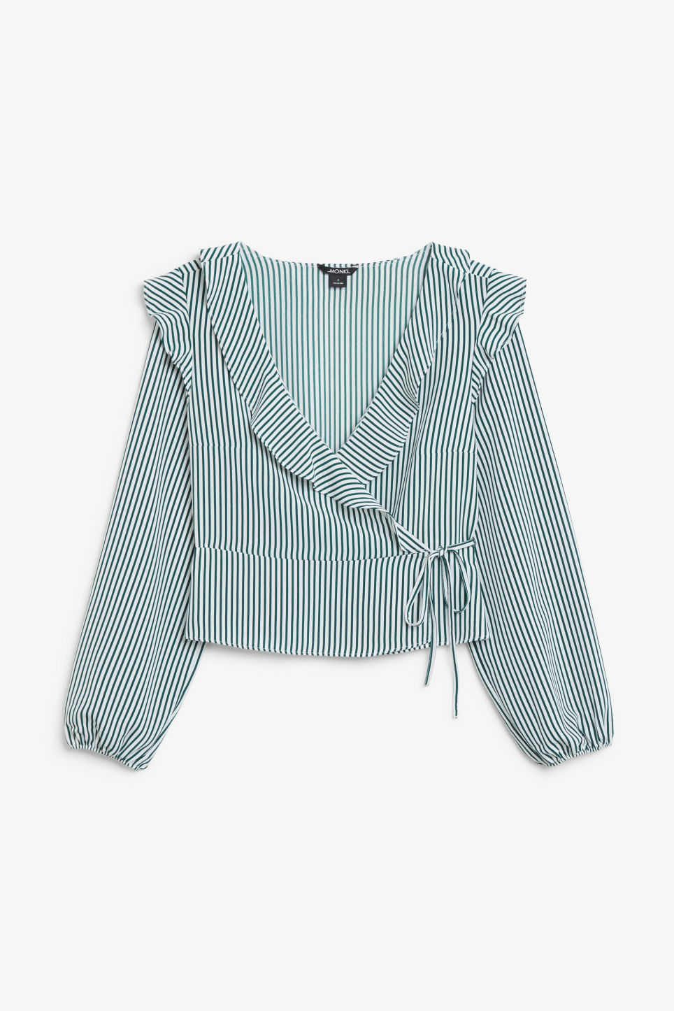 Front image of Monki ruffle wrap blouse in green