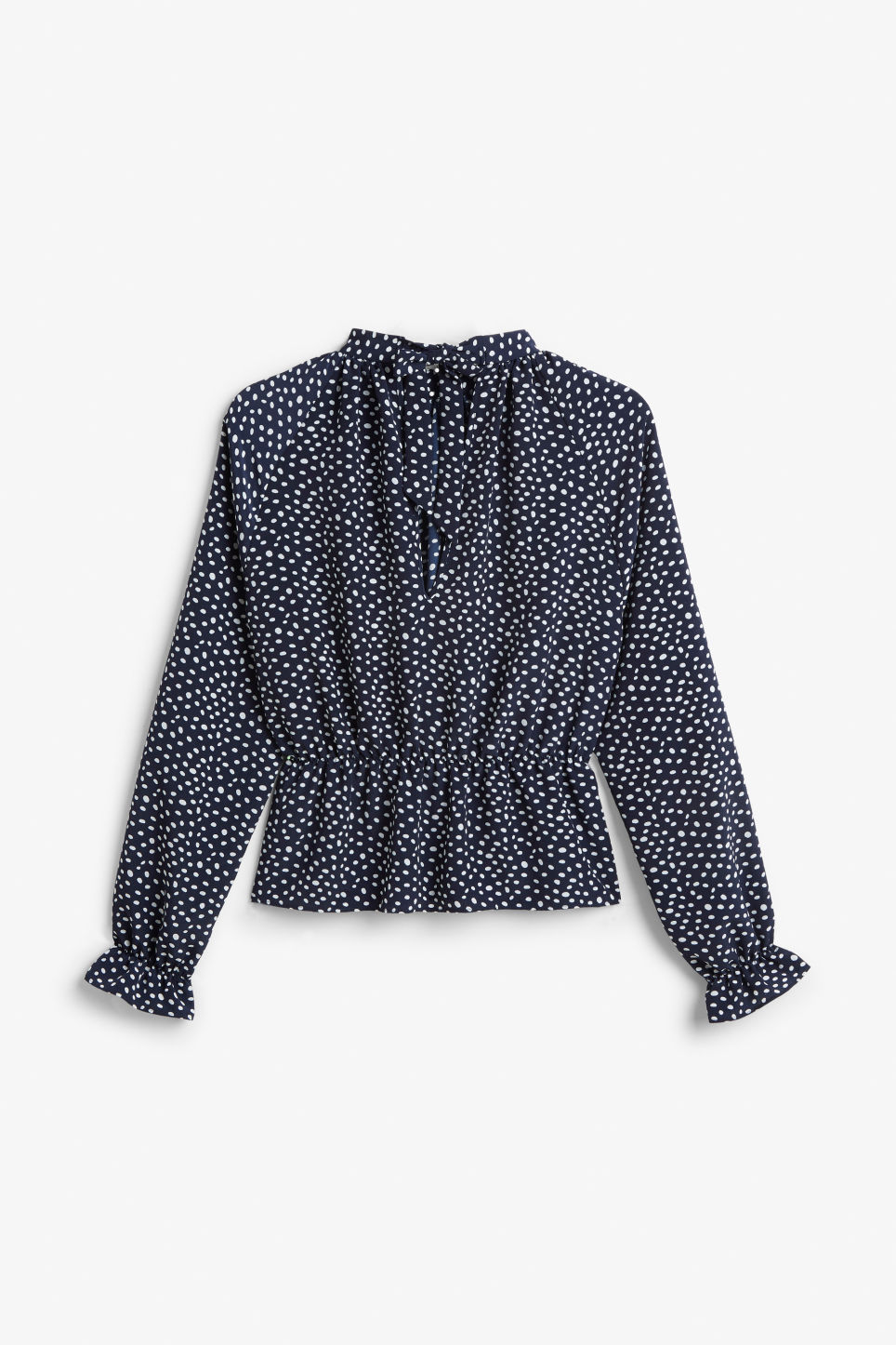 Back image of Monki high-necked blouse in blue