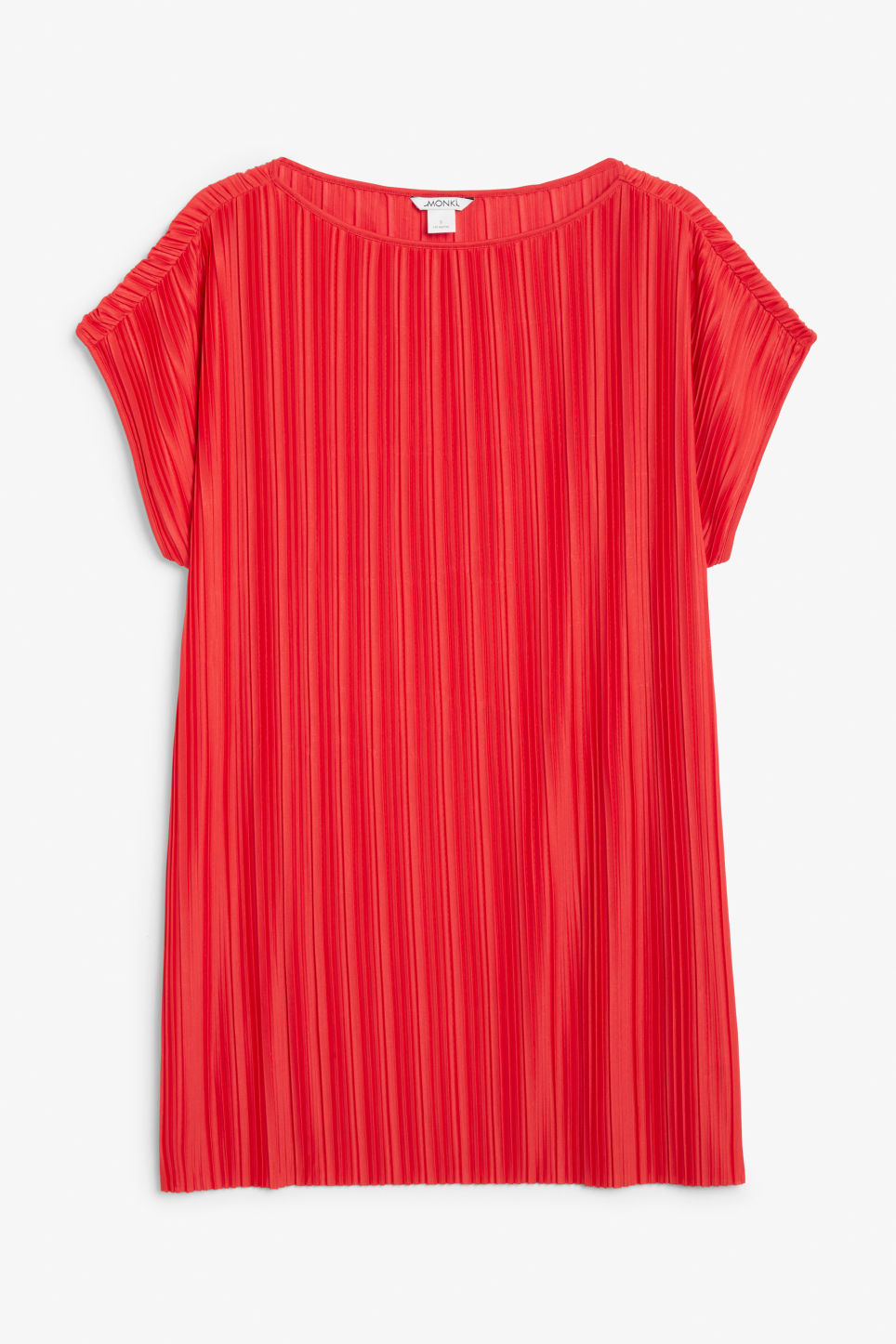 Front image of Monki pleated oversized tunic in red