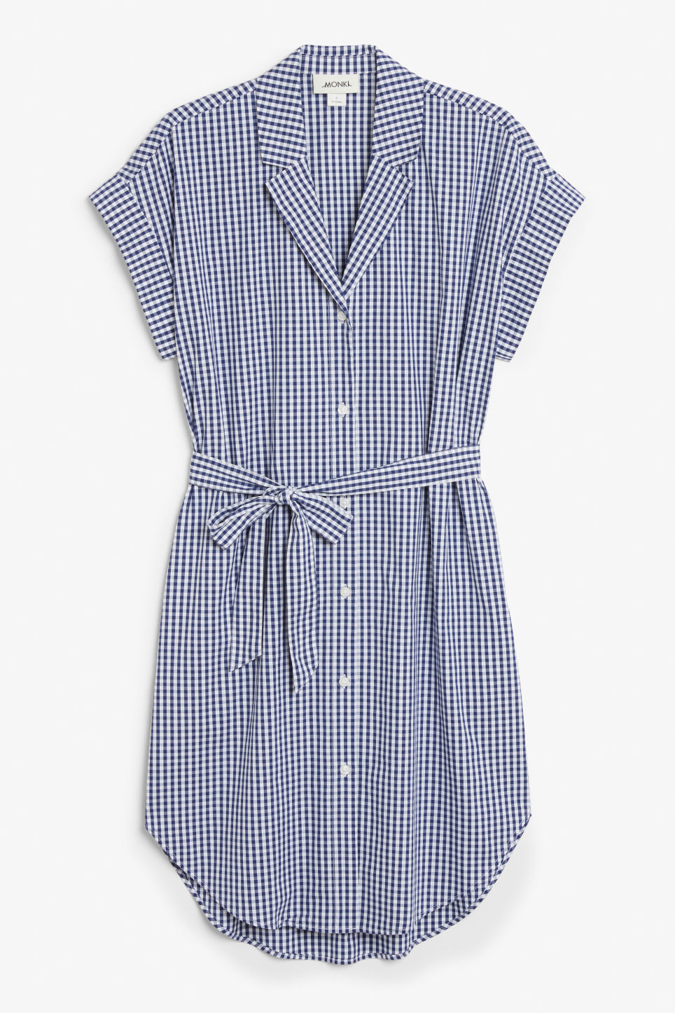 Front image of Monki short-sleeved shirt dress in blue