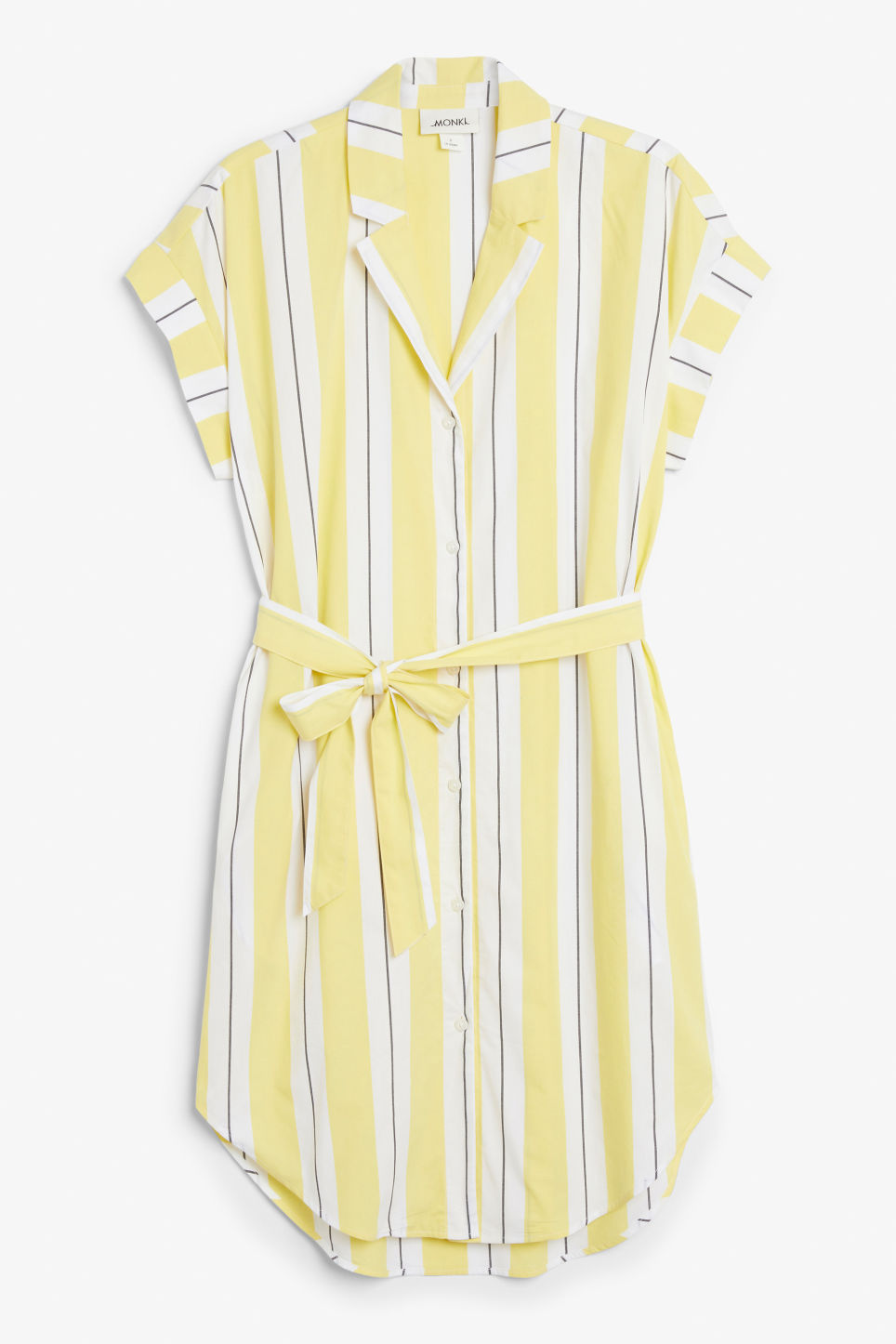 Front image of Monki short-sleeved shirt dress in yellow