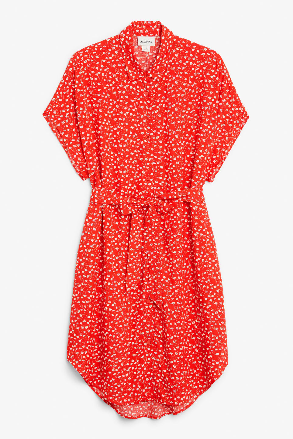 Front image of Monki belted shirt dress in red