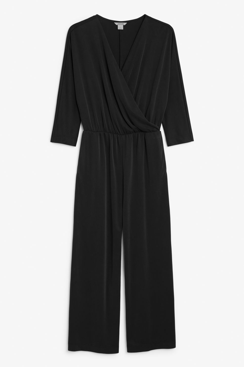 Front image of Monki super-soft wrap jumpsuit in black