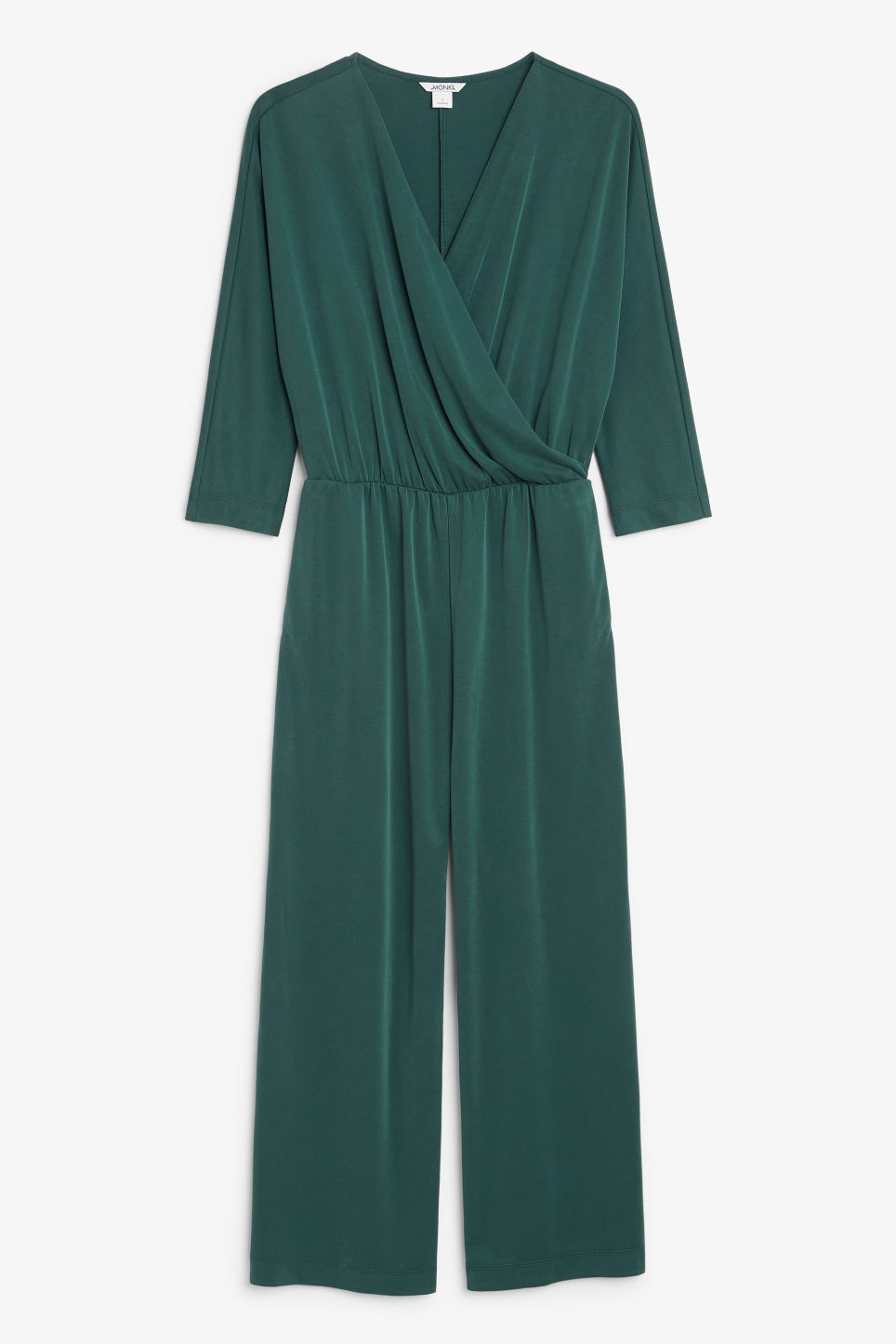 Front image of Monki super-soft wrap jumpsuit in green