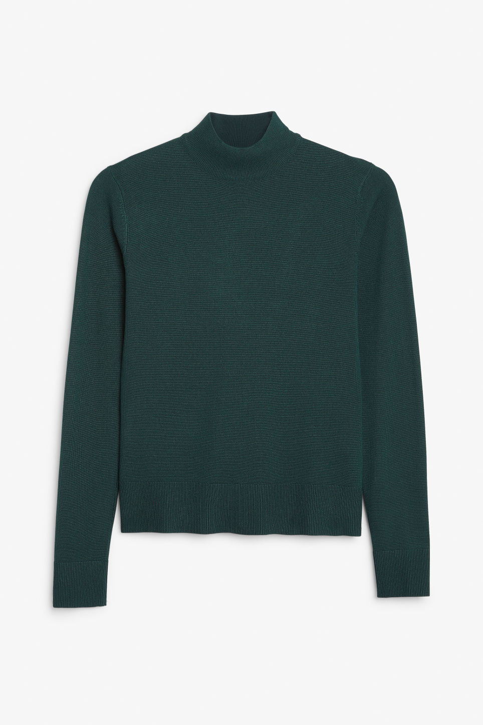 Front image of Monki long sleeved turtleneck in green