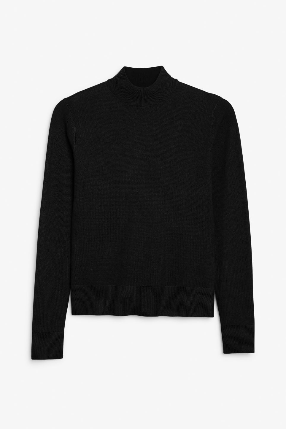 Front image of Monki long sleeved turtleneck in black