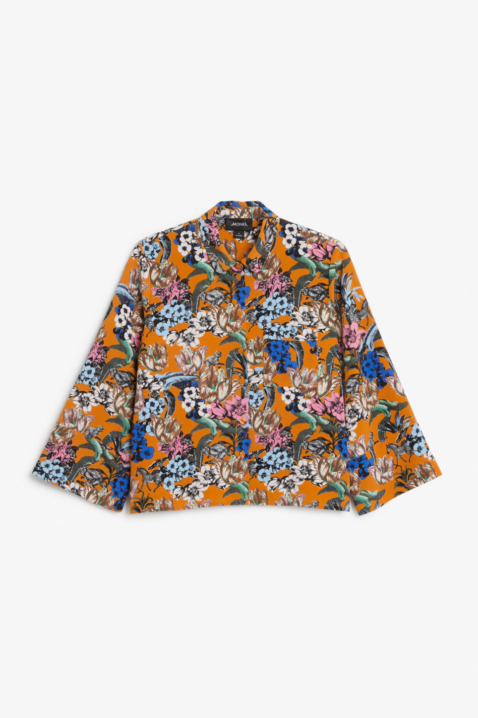 Front image of Monki oversized button-up blouse in orange