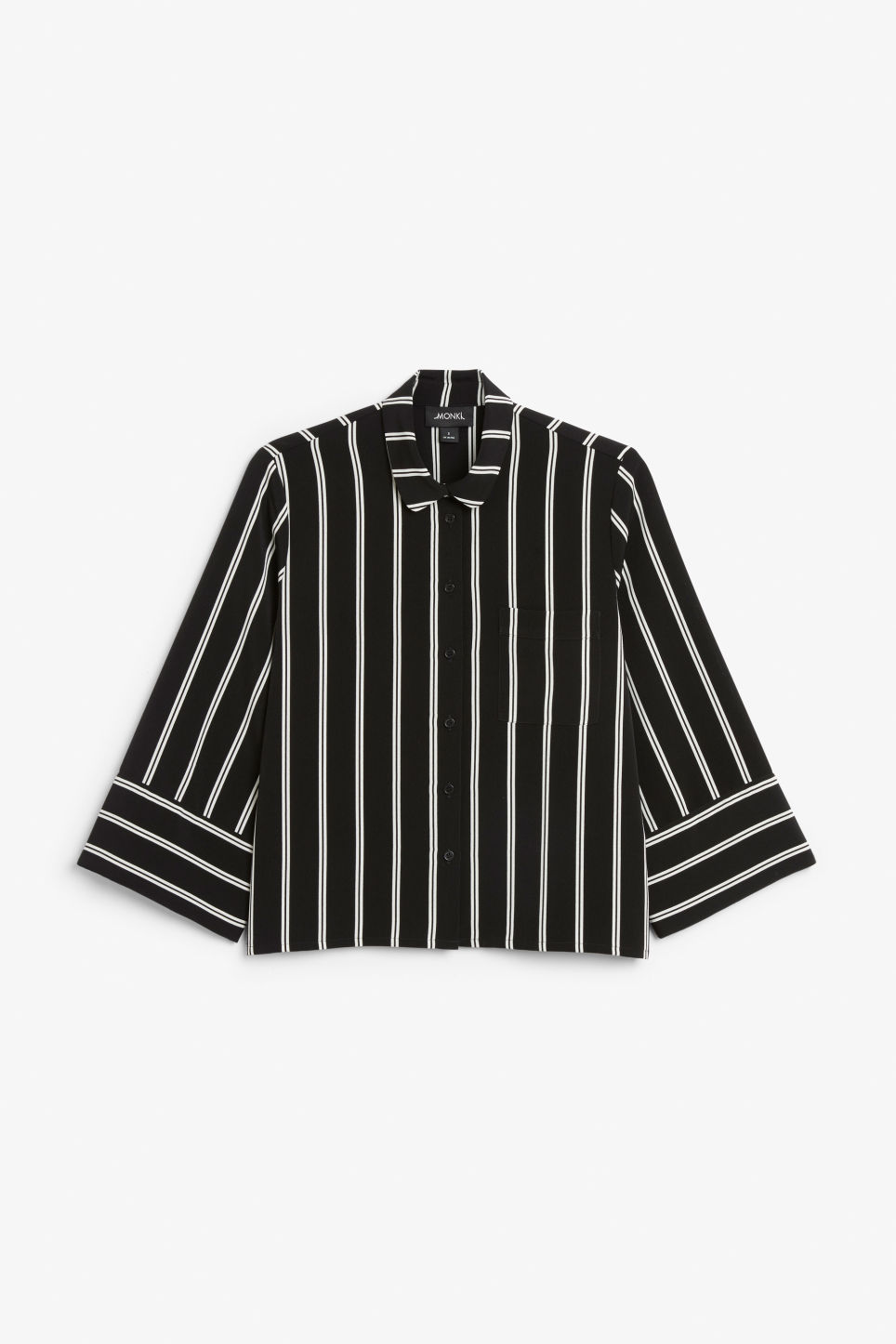 Front image of Monki oversized button-up blouse in black